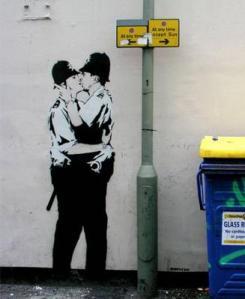Kissing Police van Banksy